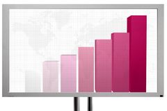 Presentation screen with business graph Royalty Free Stock Images