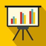 Presentation screen with diagram icon, flat style Stock Photo