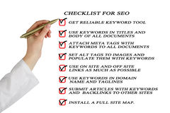 Presentation of SEO checklist Stock Photography