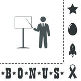 Presentation sign icon. Man standing with pointer Stock Photo