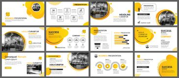 Presentation and slide layout background. Design yellow and orange gradient geometric template. Use for business annual report, stock illustration