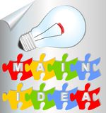 Presentation slide main idea with puzzle elements and bulb Stock Image
