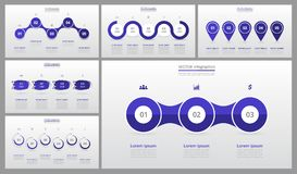 Presentation slide templates. Presentation slide templates and business vector brochures. Set of modern infographic vector elements for web, print, magazine Royalty Free Stock Image