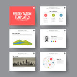 Presentation slides with infographic elements Royalty Free Stock Image
