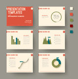Presentation slides with infographic elements Stock Images