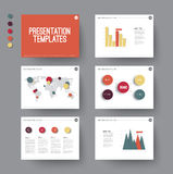 Presentation slides with infographic elements Stock Photo