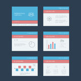 Presentation slides template. Infographics. Elements. Material design layout. Line art icons, graphs and charts. Project management concept. Eps10 vector Royalty Free Stock Photos