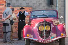 Presentation in the street of old vintage cars Stock Photo