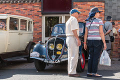 Presentation in the street of old vintage cars Royalty Free Stock Images