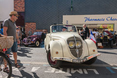 Presentation in the street of old vintage cars Stock Photos