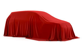 Presentation of the SUV or hatchback. Presentation of the car. Autoshow. Car under the tissue Royalty Free Stock Photo
