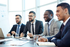 Presentation of Team Leader in Boardroom Royalty Free Stock Images