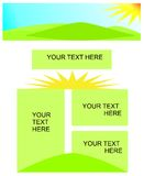 Presentation template, cdr vector. Presentation template in light green and yellow with sun and sun rays, vector royalty free illustration
