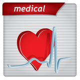 Presentation template - medical concept. With hearth and electrocardiography sign Stock Image