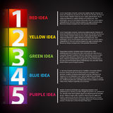 Presentation template with numbers from 1 to 5. Shows steps or options. vector illustration