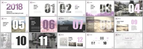 Presentation templates. Calendar planner for 2018 year. Pink color elements on a white background. royalty free illustration