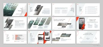 Presentation templates with red elements on a white background. Vector infographics. Use in presentations, leaflets and leaflets, corporate report, marketing stock illustration