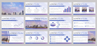 Presentation templates. Vector infographic backgrounds. Set of 12 templates for business presentation. Vector backgrounds with infographic elements and blurred Stock Images