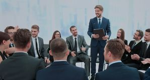 Speaker giving a talk on corporate Business Conference. Busines stock image