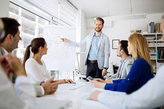 Presentation and training in business office. Lecture and training in business office for white collar colleagues stock photo