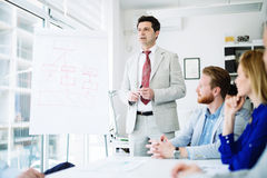 Presentation and training in business office. Lecture and training in business office for white collar colleagues stock image