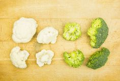 Presentation of two varieties of Brassica oleracea: Cauliflower and broccoli. Royalty Free Stock Photos
