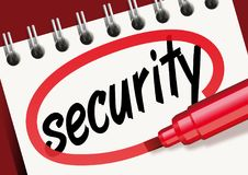 The word security noted on a notebook with a red marker stock illustration