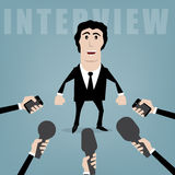 Presentation. Vector businessman giving an interview to journalists Stock Image