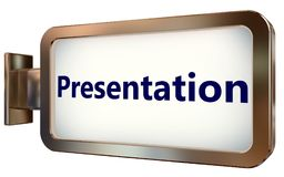 Presentation on billboard background. Presentation on wall light box billboard background , isolated on white Stock Photography