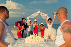Presentation of wedding cake. Stock Photo
