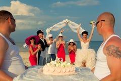 Presentation of wedding cake. stock photo