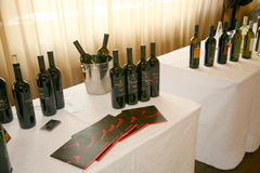 Presentation of wine at a business exhibition of manufacturers and suppliers of italian wines and food vinitaly Royalty Free Stock Photos