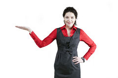 Presentation woman. Business woman in red blouse present smth stock photography