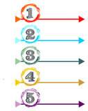 Presentation of the working process in five steps Stock Image