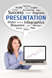 Presentation of a young business woman Royalty Free Stock Photography