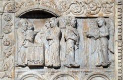 Presentationen av Jesus i templet och ängeln verkade till Joseph i en dröm att berätta honom att fly till Egypten royaltyfria bilder