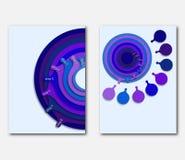 Presentationer, broschyrer, reklamblad eller räkning för mallsidadesign Bakgrund med åtta blåa koncentriska cirklar Fotografering för Bildbyråer