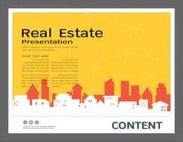 Presentationsdesignmall, stadsbyggnader och fastighetbegrepp, modern bakgrund för vektor Arkivfoto