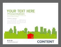 Presentationsdesignmall, stadsbyggnader och fastighetbegrepp, modern bakgrund för vektor Arkivbilder