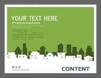 Presentationsdesignmall, stadsbyggnader och fastighetbegrepp, modern bakgrund för vektor Royaltyfri Foto