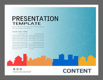 Presentationsdesignmall, stadsbyggnader och fastighetbegrepp, modern bakgrund för vektor Fotografering för Bildbyråer