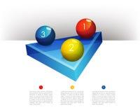Presentationsmallgraf med ett glass diagram för triangel 3D och glass bollar Royaltyfri Bild