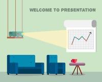 Presentationsrum med projektorn och bekväma platser Royaltyfri Bild