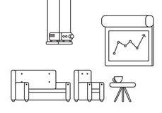 Presentationsrum med projektorn och bekväma platser Arkivfoton