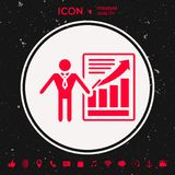 Presentationsteckensymbol Mananseende med pekaren nära det infographic Royaltyfri Foto