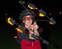 Presentatore alle celebrazioni di nuovo anno di Inverness. Fotografia Stock