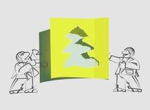 Presentatori di carta strappati dell'albero di Natale e di festa illustrazione di stock