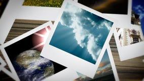 Presentazione animata ambientale della polaroid, metraggio di riserva illustrazione di stock