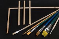 Presentazione artistica della spazzola Fotografia Stock