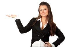 Presentazione bella della donna di affari Fotografia Stock